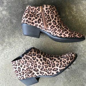Soda Shoes Mug Cheetah Ankle Boot Bootie Low Heel